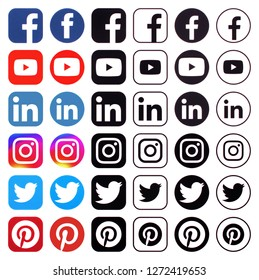 KIEV, UKRAINE -December 13, 2018: This is a photo collection of popular social media logos printed on paper: Facebook, Twitter, LinkedIn, Instagram, Pinterest;  Youtube and other