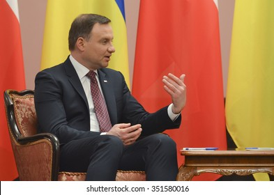 KIEV, UKRAINE - December 15, 2015: Andrzej Duda. Official visit of the President of the Republic of Poland Andrzej Duda in Ukraine