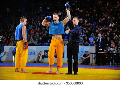 KIEV, UKRAINE - DECEMBER, 16, 2015: Ukrainian Combat Games III - nationwide Combat Games - fight of Ukrainian free-fight-athletes for the Champion title