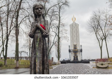 Kiev, Ukraine - December 16, 2017: Monument to the victims of the Holodomor