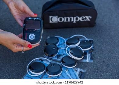 Kiev Ukraine December 17, 2017: Compex electrostimulator for fitness