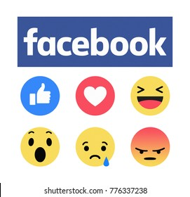 Kiev, Ukraine - December 17, 2017: New Facebook like button 6 Empathetic Emoji reactions printed on paper. Facebook is a known social networking service.