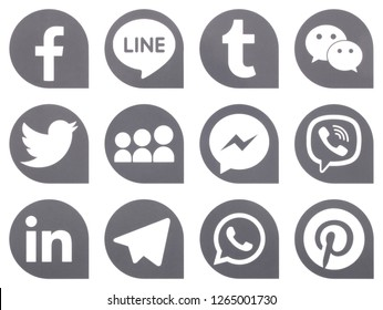 KIEV, UKRAINE -  December 17,  2018: This is a photo collection of popular social media logos printed on paper: Facebook, Twitter, LinkedIn, Pinterest, Instagram, Youtube, Line and other