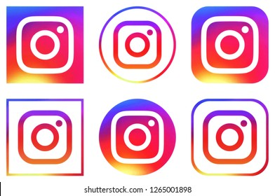 KIEV, UKRAINE - December 17,  2018: This is a photo collection of popular social media logos printed on paper: Instagram
