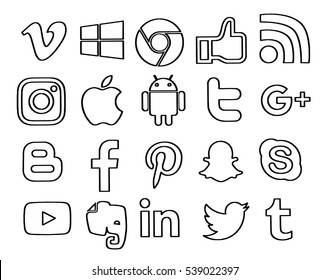 Kiev, Ukraine - December 20, 2016: Set of popular social media icons printed on white paper: Facebook, Twitter, Youtube, Pinterest, Instagram,  Snapchat,  Android, Blogger, Vimeo, Linkedin, Skype.