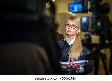 "KIEV, UKRAINE - December 21, 2016: Verkhovna Rada deputy from the ""Fatherland"" MP Yulia Tymoshenko. Parliament approved the country's state budget for 2017."