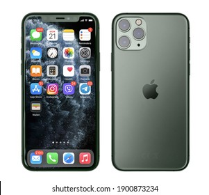 KIEV, UKRAINE - DECEMBER 21, 2020: Front and back view of new Apple  iPhone 11 Pro Midnight Green smartphone isolated on white background with clipping path