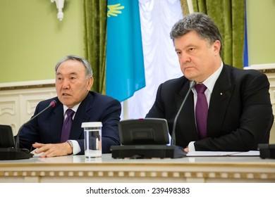 KIEV, UKRAINE  - DECEMBER 22, 2014: President of Kazakhstan Nursultan Nazarbayev during the official meeting with the President of Ukraine Petro Poroshenko in Kiev