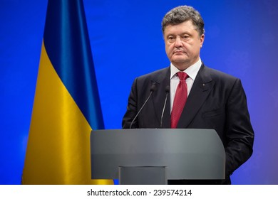 KIEV, UKRAINE - DECEMBER 22, 2014: President of Ukraine Petro Poroshenko during the traditional New Year's reception for the diplomatic heads of diplomatic missions of foreign states in Kiev