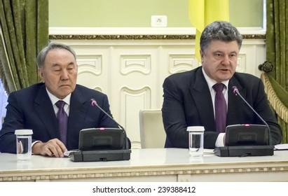 KIEV, UKRAINE - December 22, 2014:President Nursultan Nazarbayev and President Petro Poroshenko -- Kazakh President Nursultan Nazarbayev arrived in Kiev for a working visit