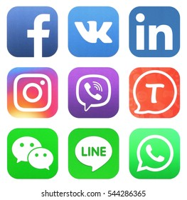KIEV, UKRAINE - DECEMBER 28, 2016: Collection of popular social media logos printed on paper: Facebook, vkontakte, Instagram, Tango, Viber, WhatsApp, Wechat, Line, and Linkedin