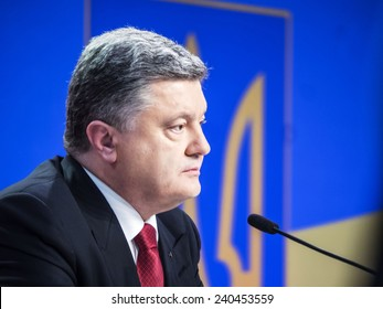 KIEV, UKRAINE - December 29, 2014: President Poroshenko held final press conference. Main question that Ukrainians want to get answer - whether to stabilize situation in east of country and economy.