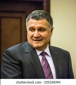KIEV, UKRAINE - December 3, 2014: Ukrainian Interior Minister Arsen Avakov