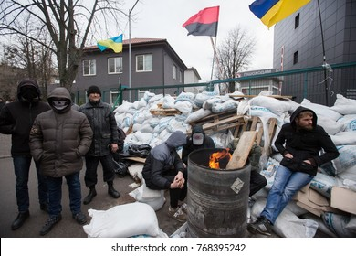 """KIEV, UKRAINE - December 4, 2017: Activists block the building of the TV channel """"News One"""" in Kiev in protest against the information policy of the TV channel."""