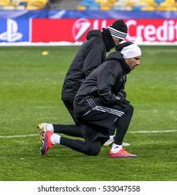 KIEV, UKRAINE: December 5, 2016: Ricardo Quaresma at Besiktas training session before UEFA Champions League game against FC Dynamo Kiev at NAC Olimpiyskyi stadium