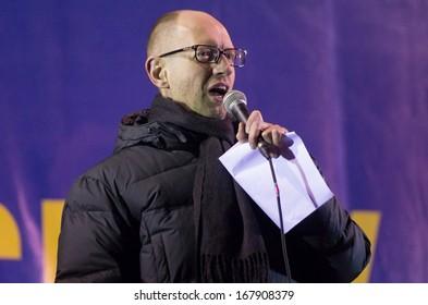 KIEV, UKRAINE - DECEMBER 5:Leader of the Ukrainian party Batkivshyna party leader Arseniy Yatsenyk speaks duringthe rally of the opposition on Independence Square in Kiev on December 5, 2013.