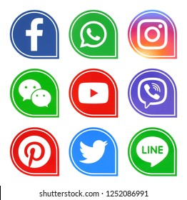 Kiev, Ukraine - December 7, 2018: Popular social media icons such as: facebook, viber, Twitter, Youtube, Pinterest, instagram, whatsapp, line and wechat printed on white paper.