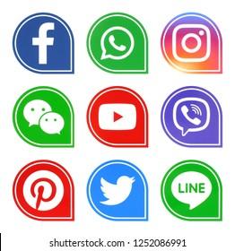 Kiev, Ukraine - December 7, 2018: Popular social media icons such as: facebook, viber, Twitter, Youtube, Pinterest, instagram, whatsapp, line and wechat printed on white paper.
