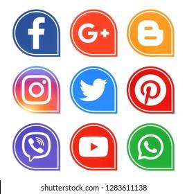 Kiev, Ukraine - December 7, 2018: Popular social media icons such as: facebook, viber, Twitter, Youtube, Pinterest, instagram, whatsapp, google plus and blogger printed on white paper.