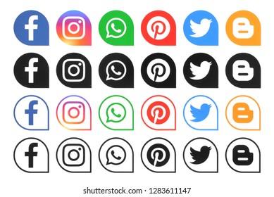 Kiev, Ukraine - December 7, 2018: Collection of different popular social media icons printed on white paper: Facebook, Instagram, whatsapp, blogger, Twitter, pinterest