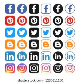 Kiev, Ukraine - December 7, 2018: Collection of different popular social media icons printed on white paper: Facebook, Instagram, Linkedin, blogger, Twitter, pinterest