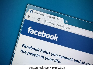 KIEV, UKRAINE - DECEMBER 8, 2011: A part of Facebook website homepage on a monitor screen. Facebook is a most popular social networking website, was founded on February 4, 2004 by Mark Zuckerberg.