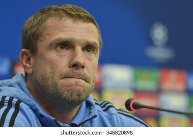KIEV, UKRAINE - December 8, 2015: Dynamo Kiev's coach Serhiy Rebrov attends a news conference prior to Champions League soccer match against Maccabi Tel Aviv.