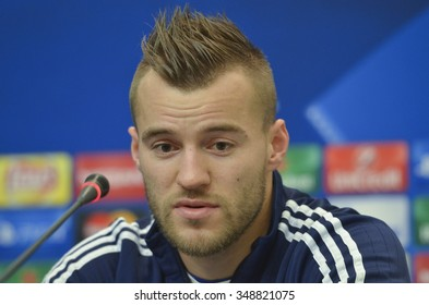KIEV, UKRAINE - December 8, 2015: Andriy Yarmolenko attends a news conference prior to Champions League soccer match against Maccabi Tel Aviv.