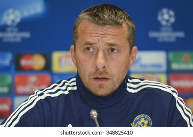 KIEV, UKRAINE - December 8, 2015:  Slavisa Jokanovic attends a news conference prior to Champions League soccer match against Dynamo Kiev.