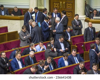 KIEV, UKRAINE - December 9, 2014: Oleg Lyashko faction blocked the rostrum demanding an immediate vote a resolution on dismissal of the Chairmanship of Committee of former members of Party of Regions