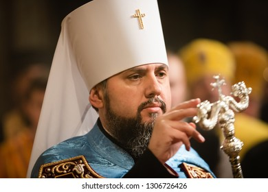 KIEV, UKRAINE - Feb. 03, 2019: Liturgy and enthronement of Primate of the Orthodox Church of Ukraine, Metropolitan of Kyiv and All Ukraine Epifaniy