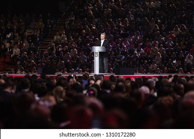 KIEV, UKRAINE - Feb. 09, 2019: President of Ukraine Petro Poroshenko during the Open Dialogue public forum in Kiev