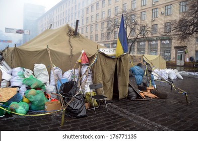 KIEV, UKRAINE - FEB 10, 2014: Downtown of Kiev.Barricades.. Riot in Kiev and Western Ukraine.February 10, 2014 Kiev, Ukraine