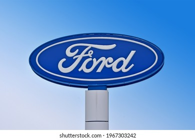 KIEV, UKRAINE - FEB 10, 2021: Winner Automotive autocentre on February 10, 2021 in Kiev, Ukraine. It is subdivision of Winner Retail and provides the official service of the Ford brand in Ukraine.