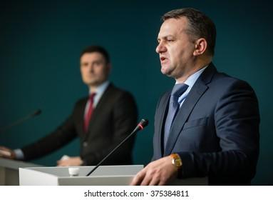 KIEV, UKRAINE - Feb 11, 2016: Chairman of Lviv Regional Regional State Administration Oleg Sinyutka during a briefing in Presidential Administration in Kiev