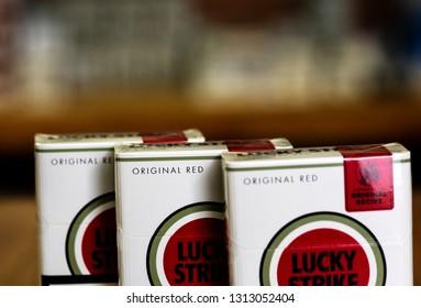 KIEV, UKRAINE - Feb 14, 2019: Packs of  British American Tobacco Lucky Strike cigarettes
