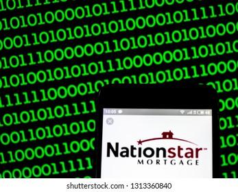 KIEV, UKRAINE - Feb 14, 2019: Nationstar Mortgage Holdings Inc.  logo seen displayed on smart phone