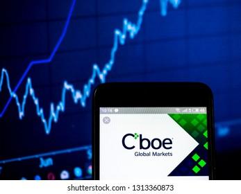 KIEV, UKRAINE - Feb 14, 2019:  Cboe Global Markets company logo seen displayed on smart phone