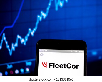 KIEV, UKRAINE - Feb 14, 2019:  FLEETCOR Technologies, Inc  logo seen displayed on smart phone