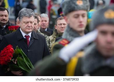 KIEV, UKRAINE - Feb 15, 2016: President of Ukraine Petro Poroshenko honored the memory of soldiers killed during the fighting on Afghanistan territory
