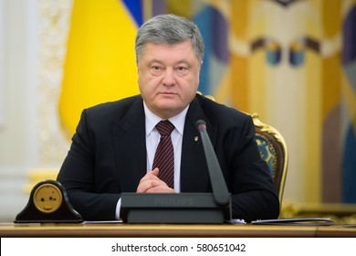 KIEV, UKRAINE - Feb 16, 2017: President of Ukraine Petro Poroshenko at the meeting of the National Security and Defense Council (NSDC) in Kiev