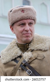 KIEV, UKRAINE - FEB 20: A member of a history club called Red Star wears a historical Soviet uniform as he participates in a WWII reenactment in Kiev, Ukraine February 20, 2009.