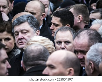 KIEV, UKRAINE - Feb 22, 2015: President Ukraine Petro Porochenko and representatives of European countries amongst masses of people during the march in the memory of perished activists on Maidan.