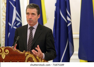 KIEV, UKRAINE - FEB 24: Anders Fogh Rasmussen, the 12th Secretary General of NATO, speaks during a briefing in the presidential administration of Ukraine, on February 24, 2011 in Kiev, Ukraine