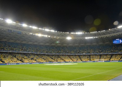 Kiev, UKRAINE - FEB 24: A general view of the stadium with the fans and the field before the UEFA Champions League match between Dynamo Kiev vs Manchester City (England), 24 February 2016, Ukraine