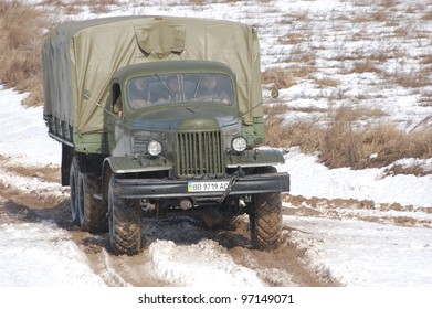 KIEV, UKRAINE -FEB 25: Soviet military truck created after WWII during Historical Military Motor Show,Military history club Red Star. February 25, 2012 in Kiev, Ukraine