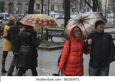 KIEV, UKRAINE - Feb 26, 2016: Rainy weather in Kiev