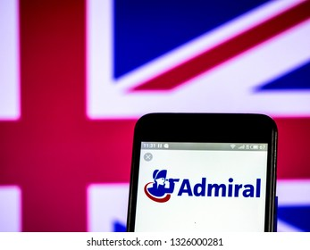 KIEV, UKRAINE - Feb 28, 2019: Admiral Group plc logo seen displayed on smart phone
