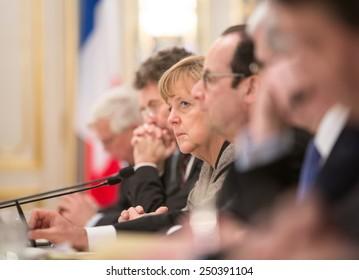 KIEV, UKRAINE - Feb 5, 2015: French President Francois Hollande and Chancellor of the Federal Republic of Germany Angela Merkel during a meeting with the President of Ukraine, Pyotr Poroshenko