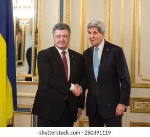 KIEV, UKRAINE - Feb 5, 2015: President of Ukraine Petro Poroshenko and US Secretary of State John Kerry during an official meeting in Kiev